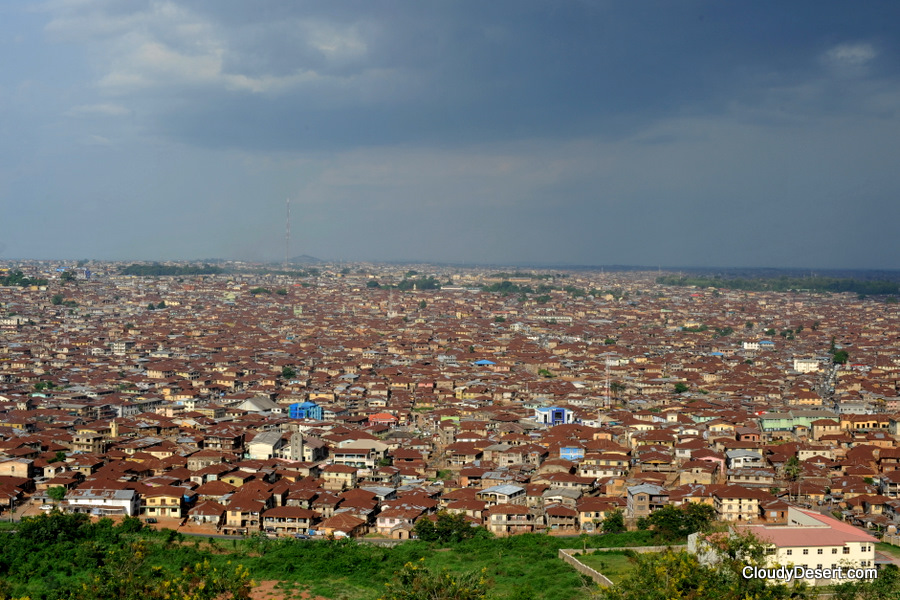 The sea of rust coloured roofs in Ibadan