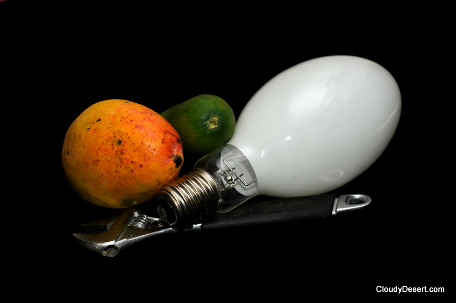 Wrench, mango, cucumber and a light bulb