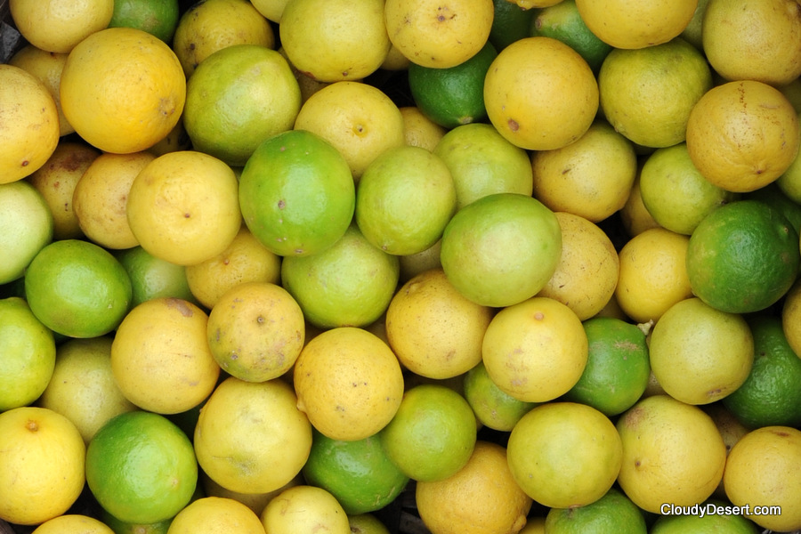 Yellow and green limes
