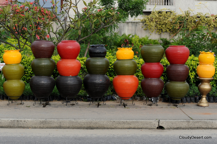 flower pots on display